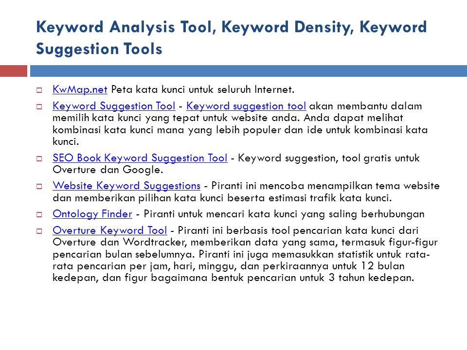 Keyword Analysis Tool, Keyword Density, Keyword Suggestion Tools