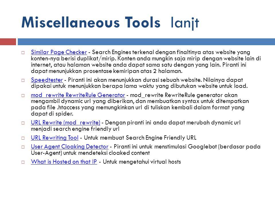 Miscellaneous Tools lanjt