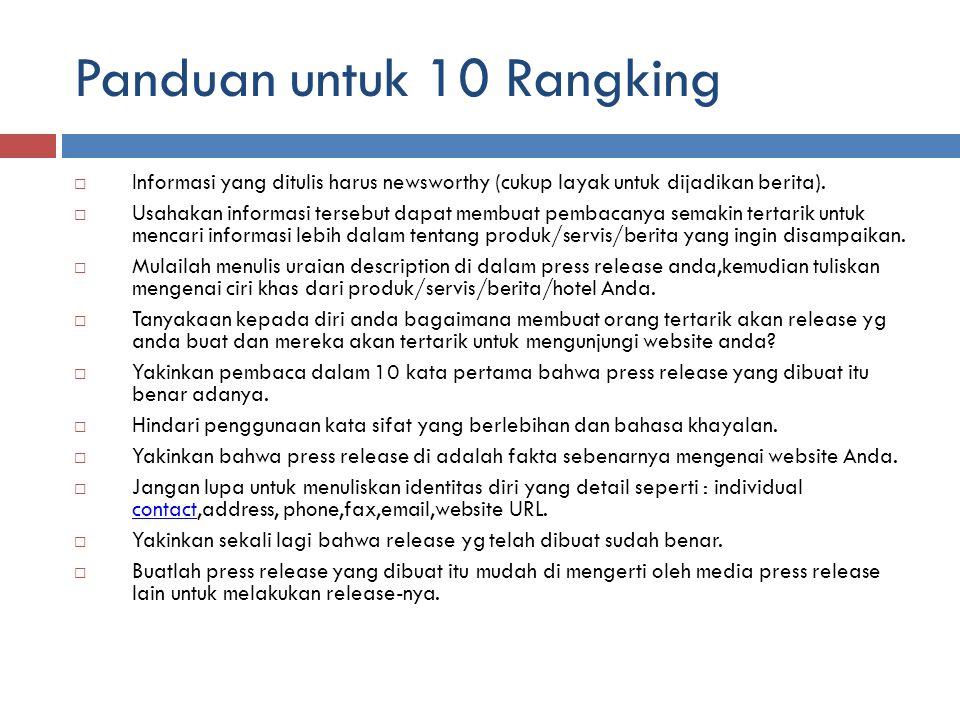 Panduan untuk 10 Rangking