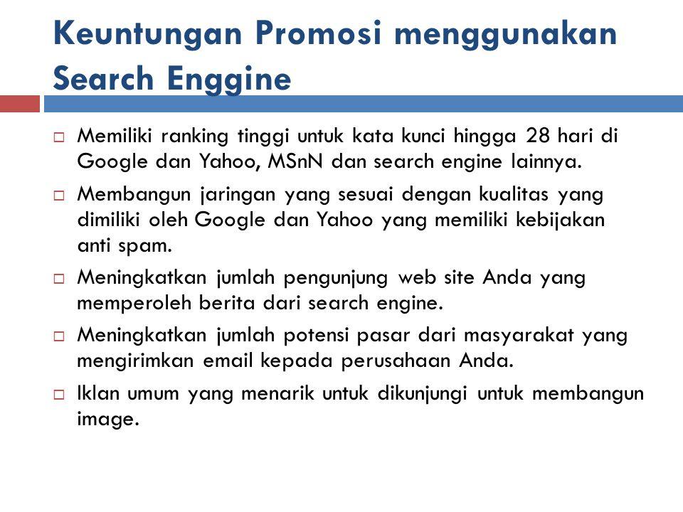 Keuntungan Promosi menggunakan Search Enggine
