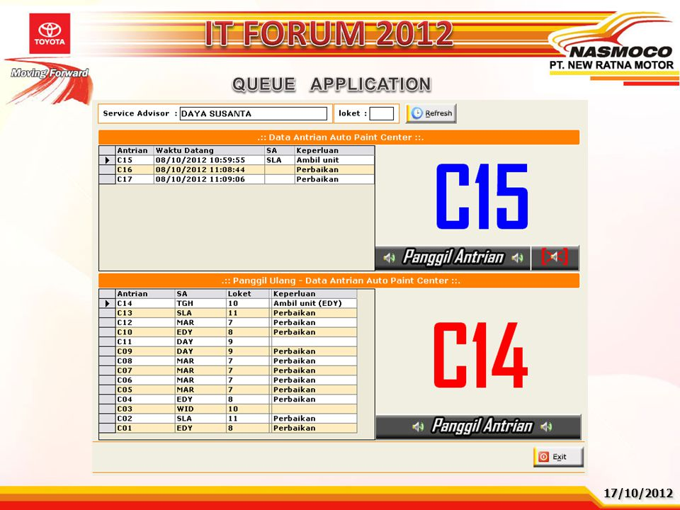 IT FORUM 2012 QUEUE APPLICATION 17/10/2012