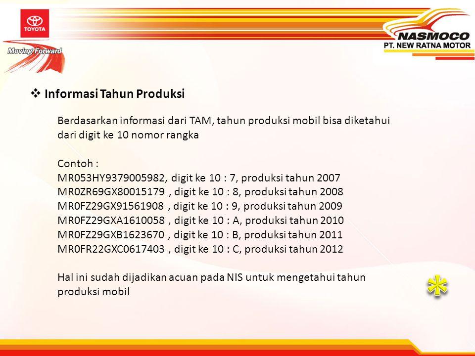 * Informasi Tahun Produksi