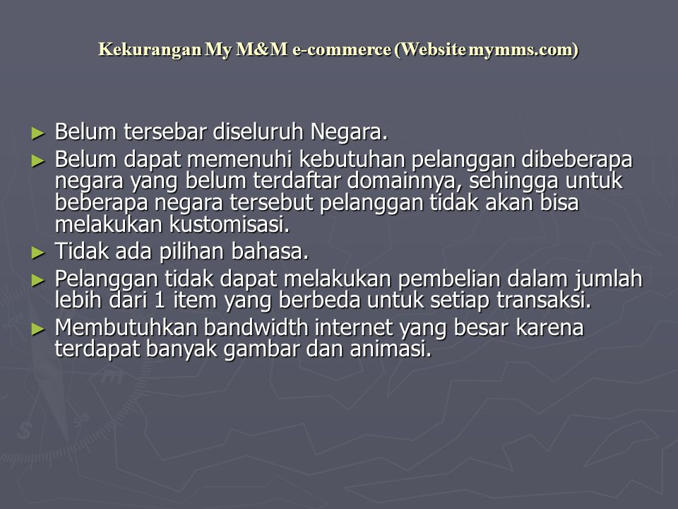 Kekurangan My M&M e-commerce (Website mymms.com)