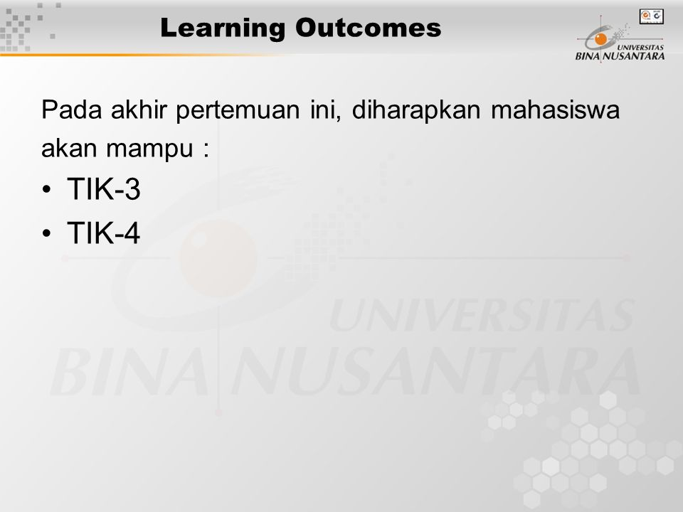 TIK-3 TIK-4 Learning Outcomes