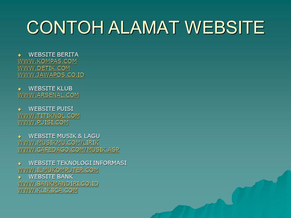 CONTOH ALAMAT WEBSITE WEBSITE BERITA WWW.KOMPAS.COM WWW.DETIK.COM