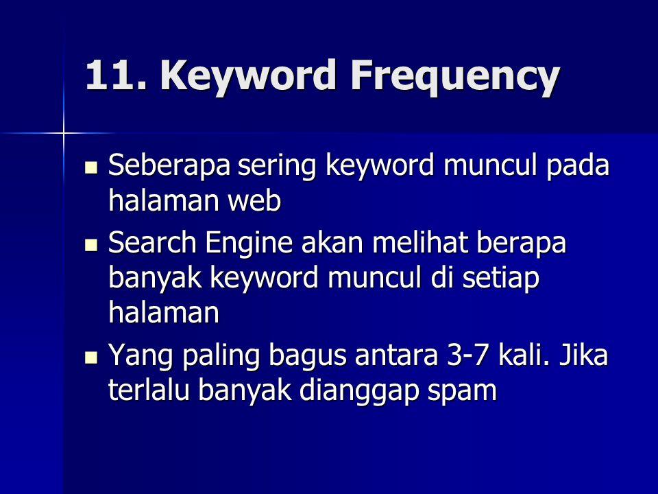 11. Keyword Frequency Seberapa sering keyword muncul pada halaman web