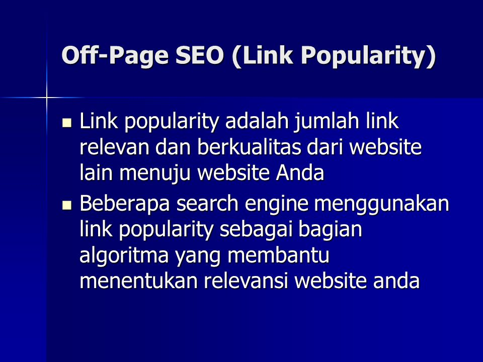 Off-Page SEO (Link Popularity)