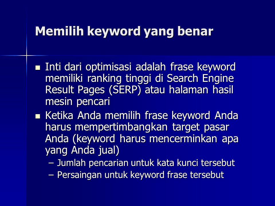 Memilih keyword yang benar