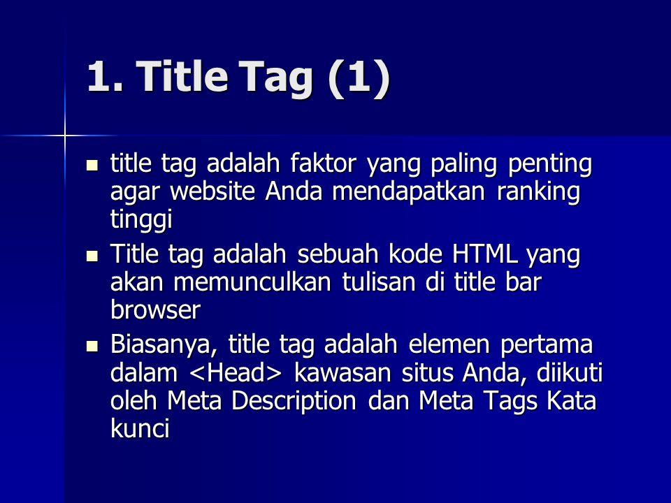 1. Title Tag (1) title tag adalah faktor yang paling penting agar website Anda mendapatkan ranking tinggi.