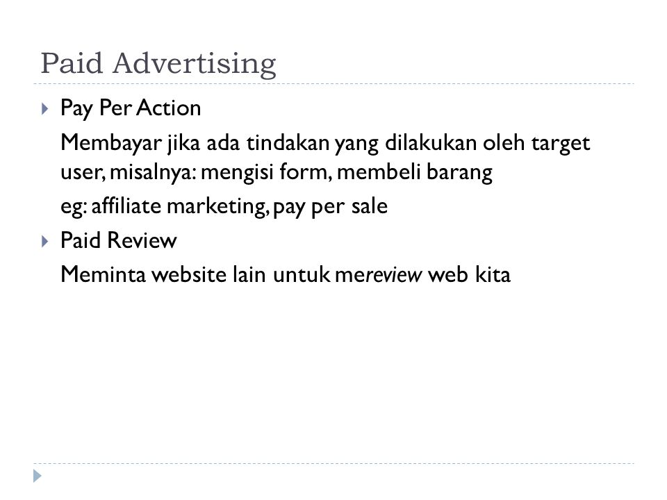 Paid Advertising Pay Per Action