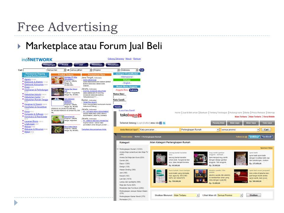 Free Advertising Marketplace atau Forum Jual Beli
