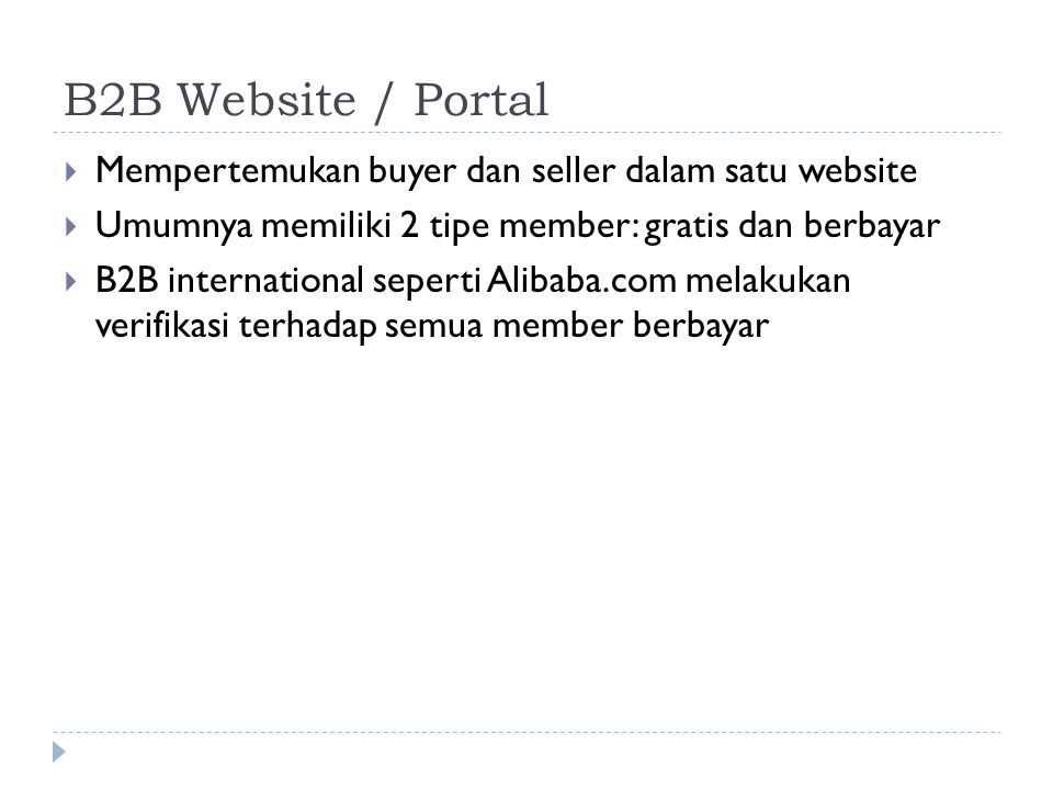 B2B Website / Portal Mempertemukan buyer dan seller dalam satu website