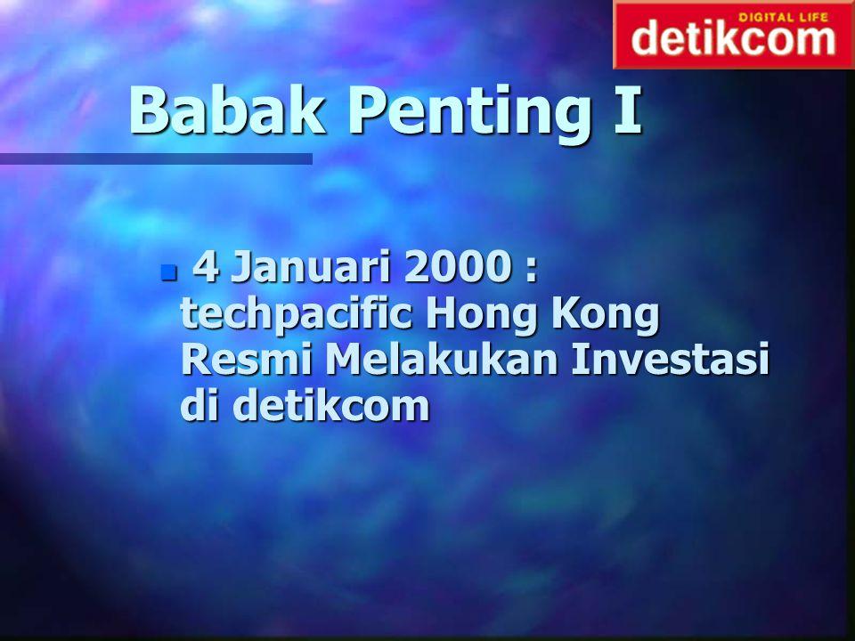Babak Penting I 4 Januari 2000 : techpacific Hong Kong Resmi Melakukan Investasi di detikcom