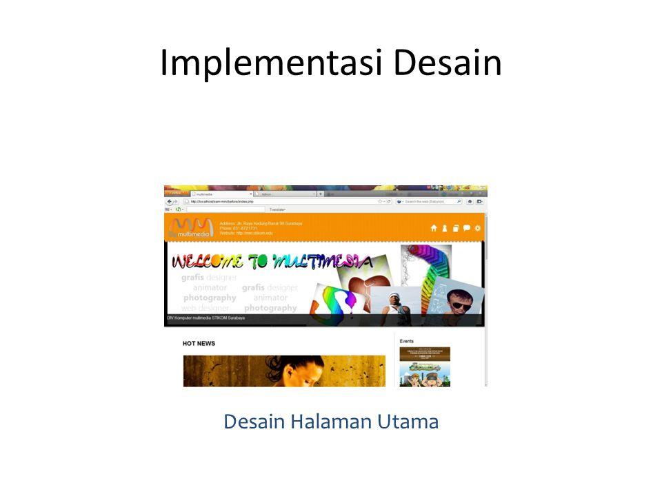 Implementasi Desain Desain Halaman Utama