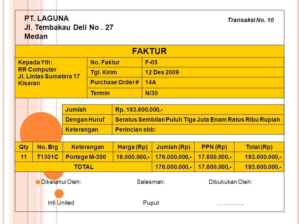 FAKTUR PT. LAGUNA Jl. Tembakau Deli No . 27 Medan Transaksi No. 10