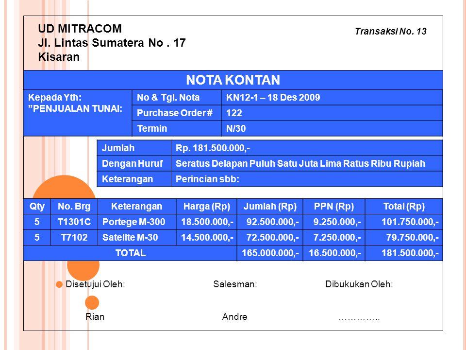 NOTA KONTAN UD MITRACOM Jl. Lintas Sumatera No . 17 Kisaran