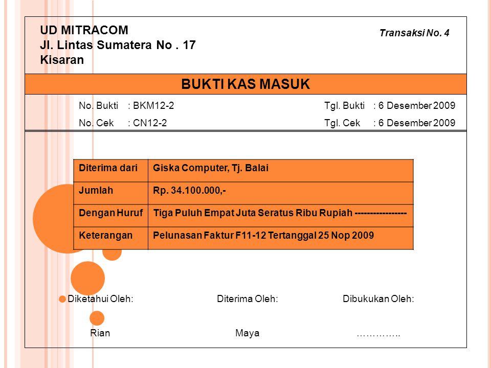 BUKTI KAS MASUK UD MITRACOM Jl. Lintas Sumatera No . 17 Kisaran