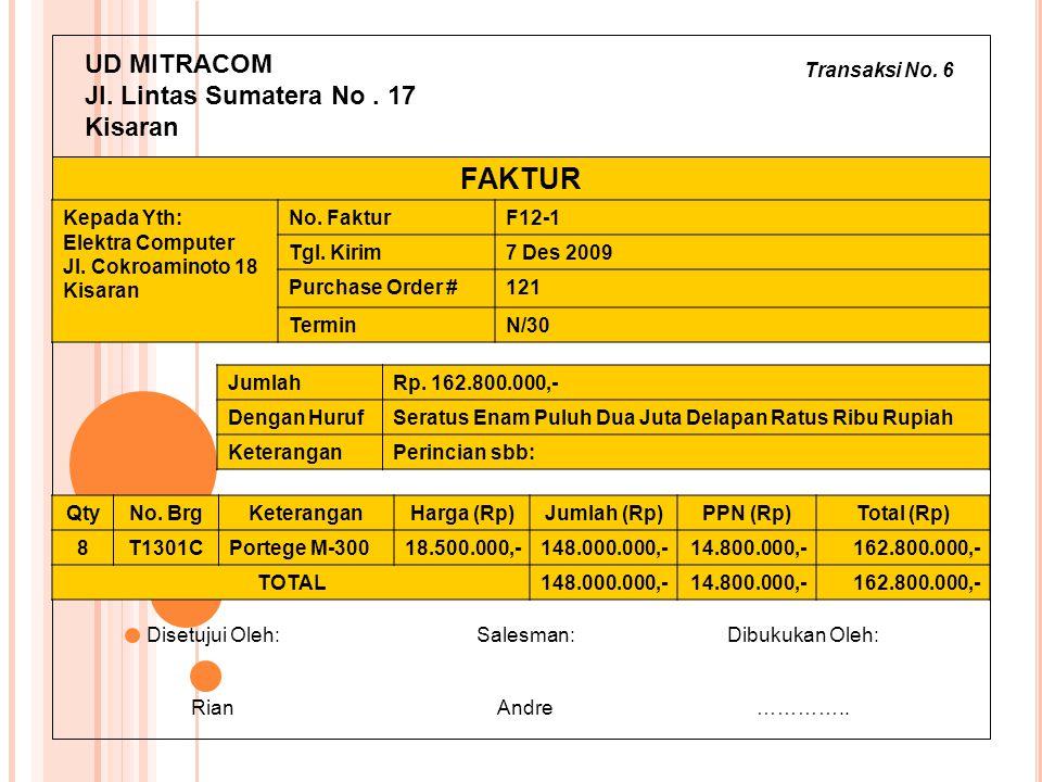 FAKTUR UD MITRACOM Jl. Lintas Sumatera No . 17 Kisaran Transaksi No. 6