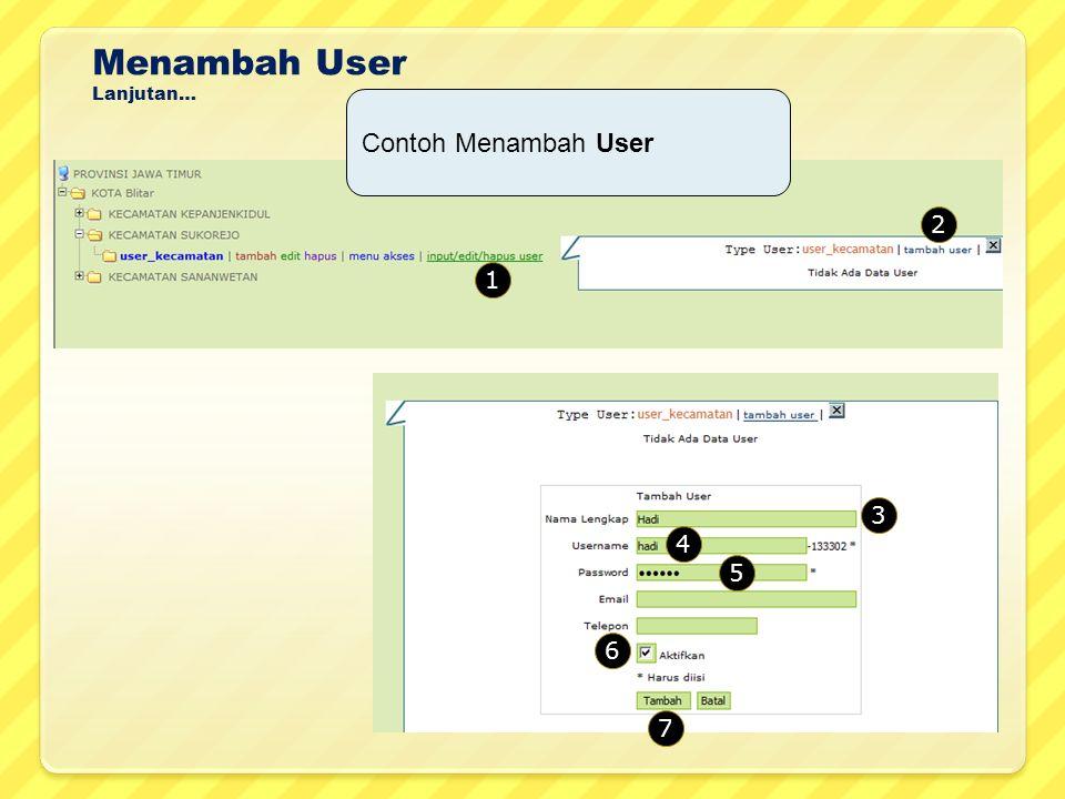 Menambah User Lanjutan… Contoh Menambah User 2 1 3 4 5 6 7