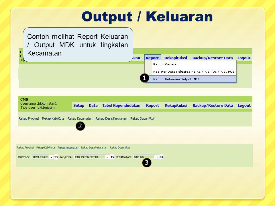 Output / Keluaran Contoh melihat Report Keluaran / Output MDK untuk tingkatan Kecamatan 1 2 3
