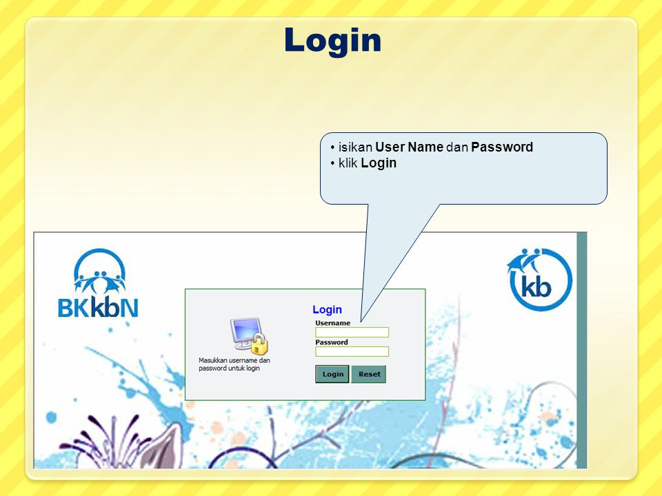 Login isikan User Name dan Password klik Login