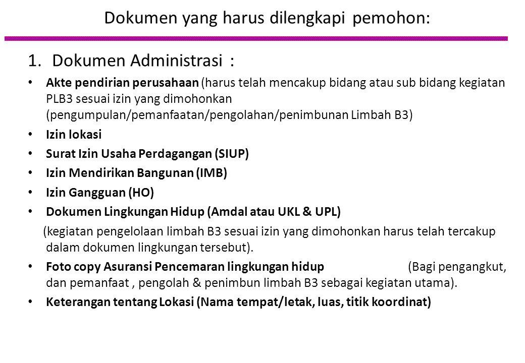Dokumen yang harus dilengkapi pemohon: