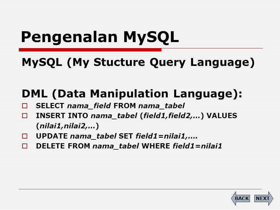 Pengenalan MySQL MySQL (My Stucture Query Language)