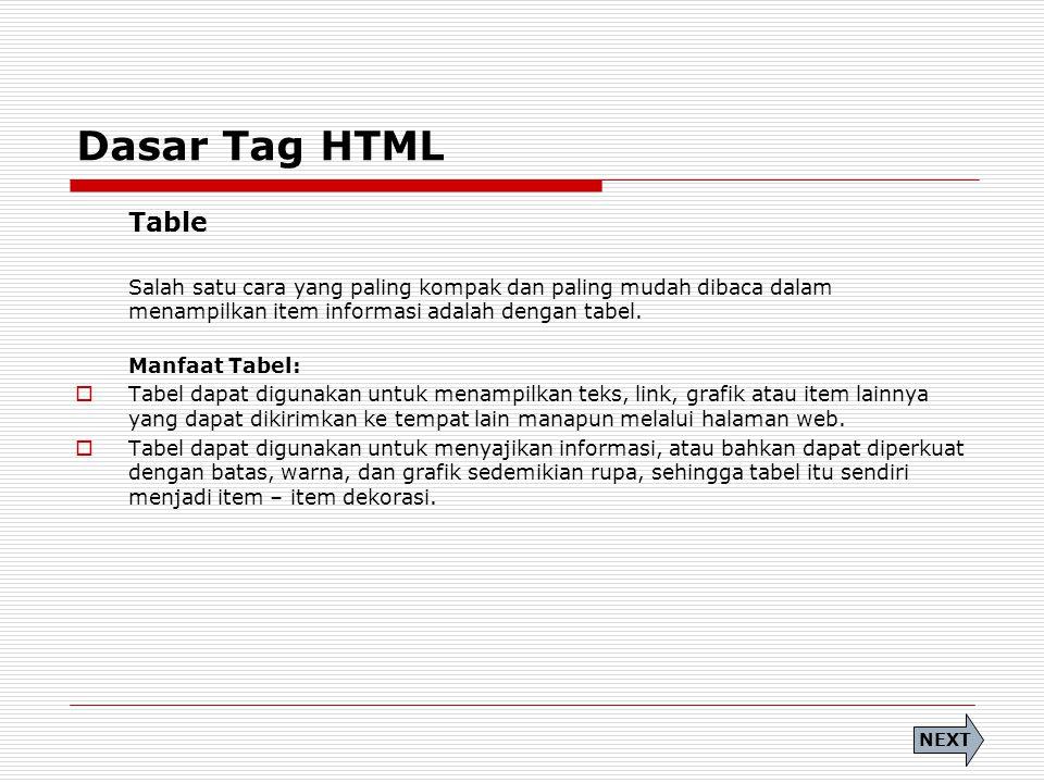 Dasar Tag HTML Table. Salah satu cara yang paling kompak dan paling mudah dibaca dalam menampilkan item informasi adalah dengan tabel.