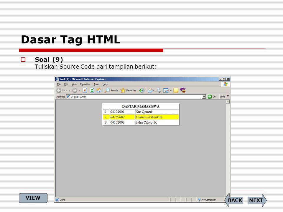 Dasar Tag HTML Soal (9) Tuliskan Source Code dari tampilan berikut: