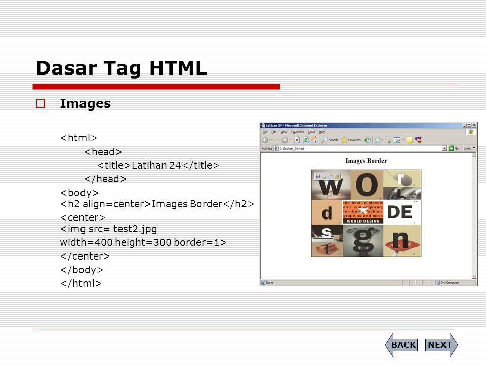 Dasar Tag HTML Images <html> <head>