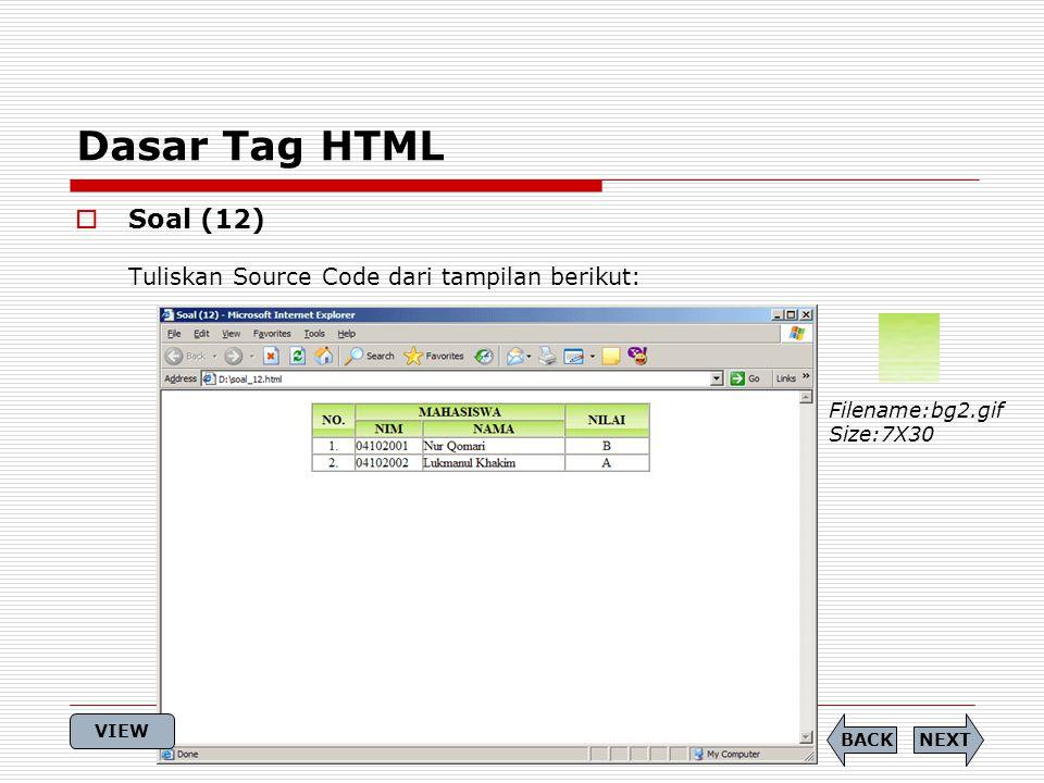 Dasar Tag HTML Soal (12) Tuliskan Source Code dari tampilan berikut:
