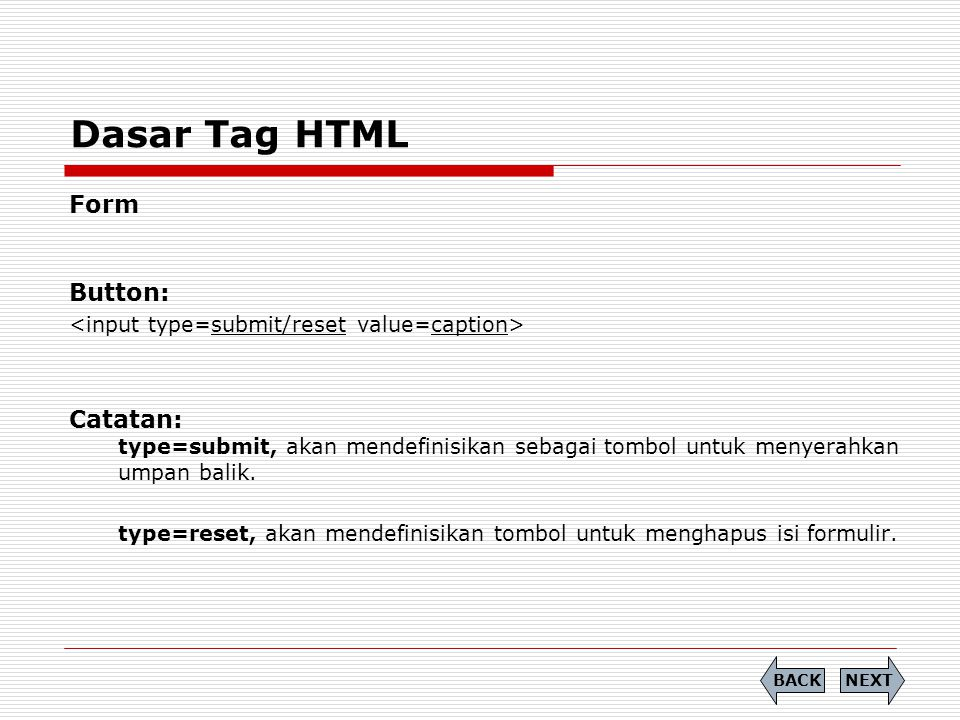 Dasar Tag HTML Form Button: