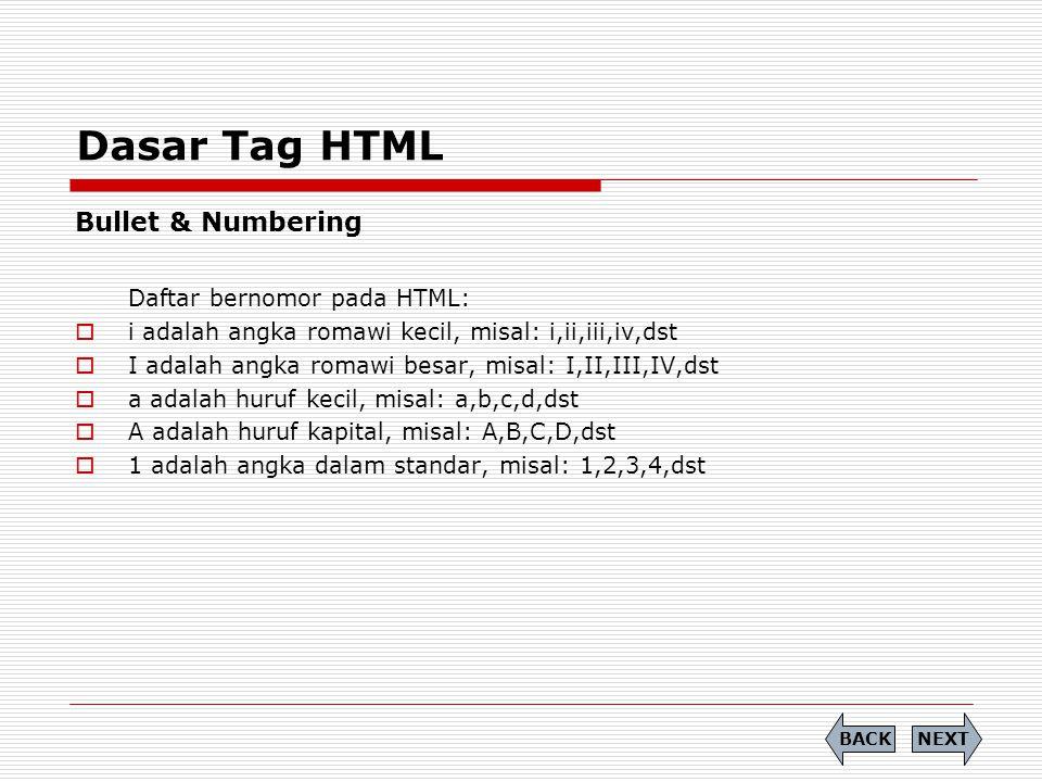 Dasar Tag HTML Bullet & Numbering Daftar bernomor pada HTML: