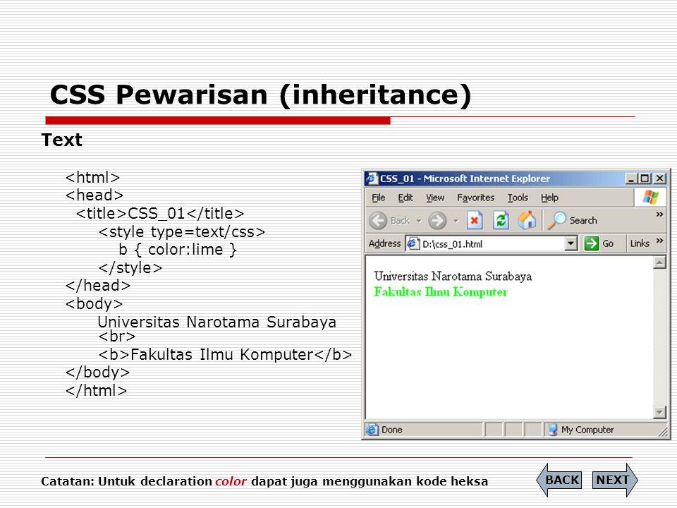 CSS Pewarisan (inheritance)