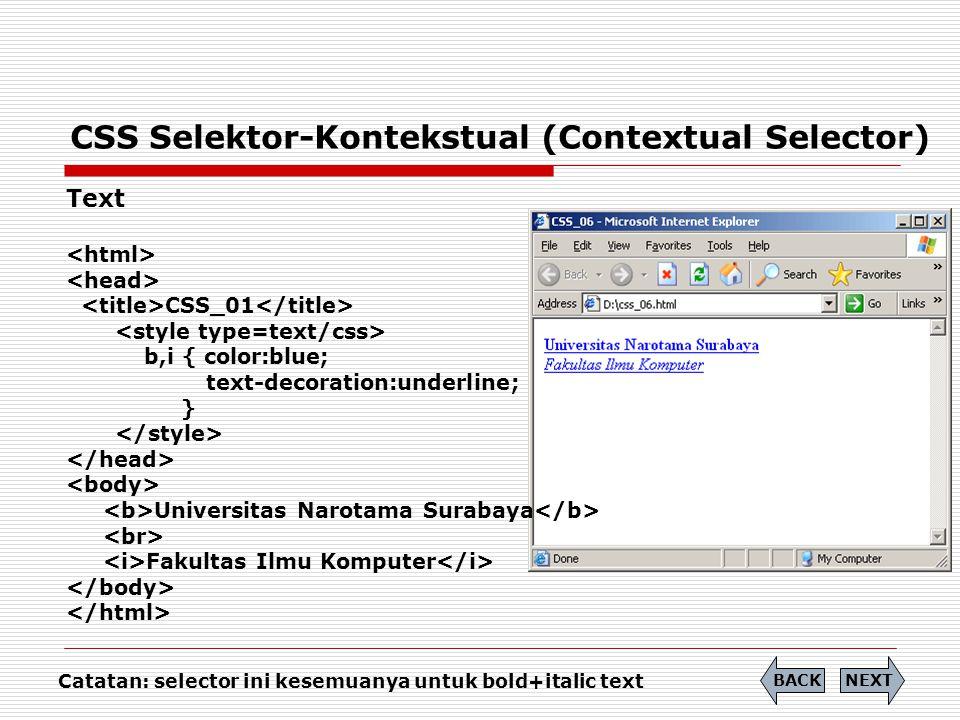 CSS Selektor-Kontekstual (Contextual Selector)
