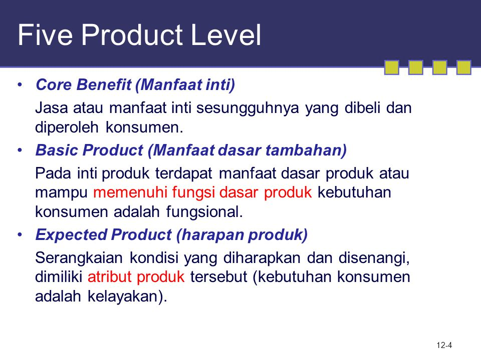Five Product Level Core Benefit (Manfaat inti)