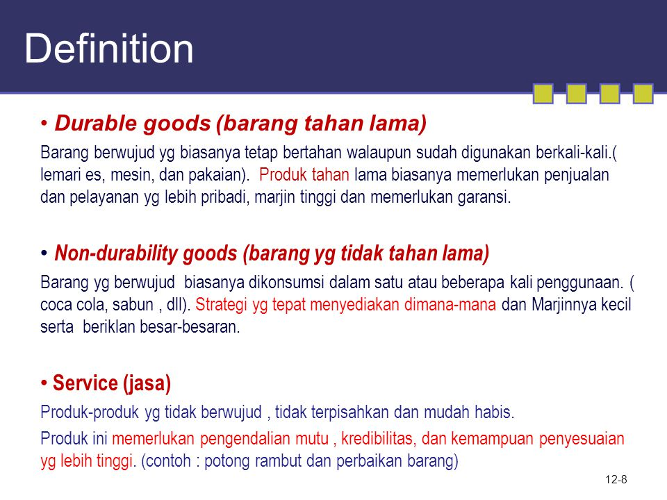 Definition Durable goods (barang tahan lama)