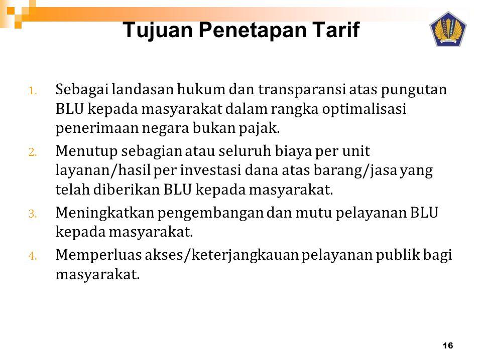 Tujuan Penetapan Tarif