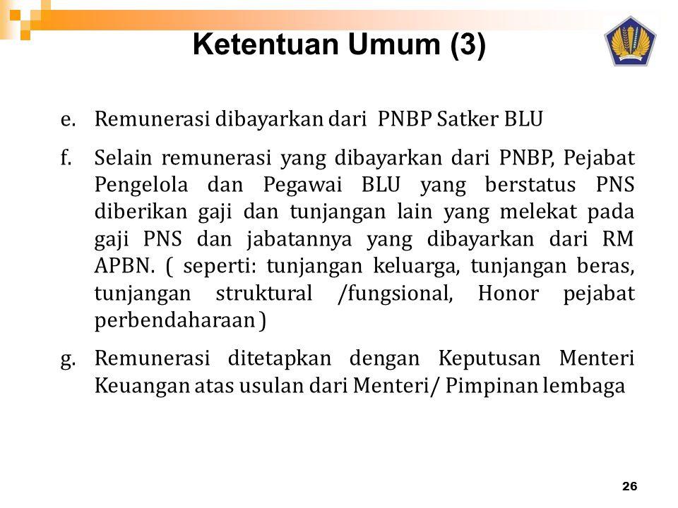 Ketentuan Umum (3) Remunerasi dibayarkan dari PNBP Satker BLU