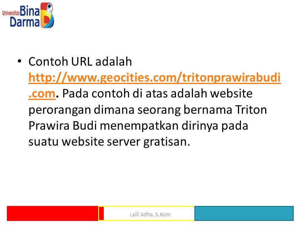 Contoh URL adalah http://www. geocities. com/tritonprawirabudi. com