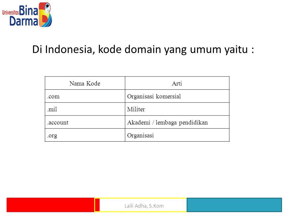 Di Indonesia, kode domain yang umum yaitu :