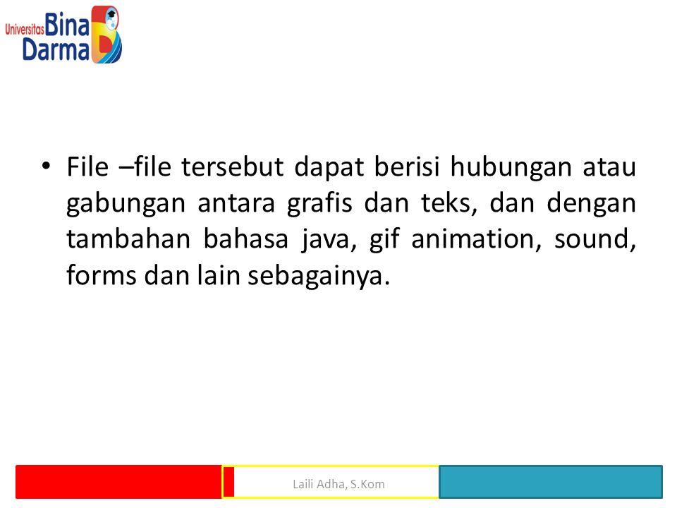 File –file tersebut dapat berisi hubungan atau gabungan antara grafis dan teks, dan dengan tambahan bahasa java, gif animation, sound, forms dan lain sebagainya.