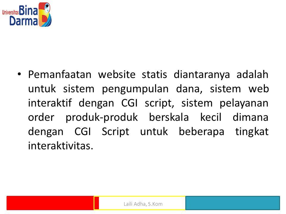 Pemanfaatan website statis diantaranya adalah untuk sistem pengumpulan dana, sistem web interaktif dengan CGI script, sistem pelayanan order produk-produk berskala kecil dimana dengan CGI Script untuk beberapa tingkat interaktivitas.