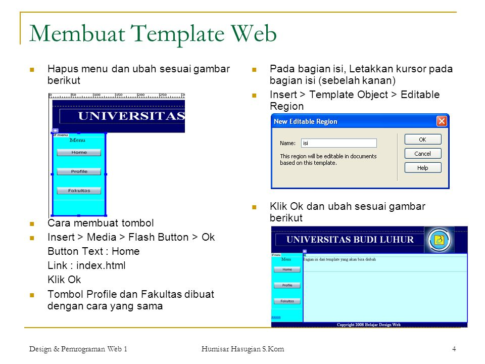 Membuat Template Web Hapus menu dan ubah sesuai gambar berikut