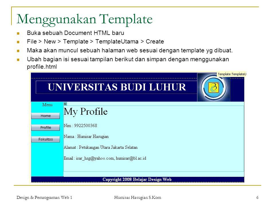 Menggunakan Template Buka sebuah Document HTML baru