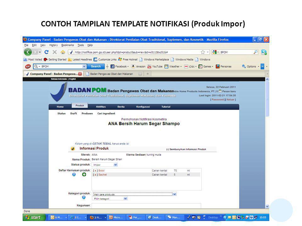 CONTOH TAMPILAN TEMPLATE NOTIFIKASI (Produk Impor)