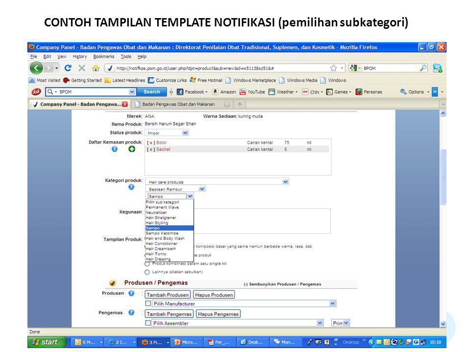 CONTOH TAMPILAN TEMPLATE NOTIFIKASI (pemilihan subkategori)
