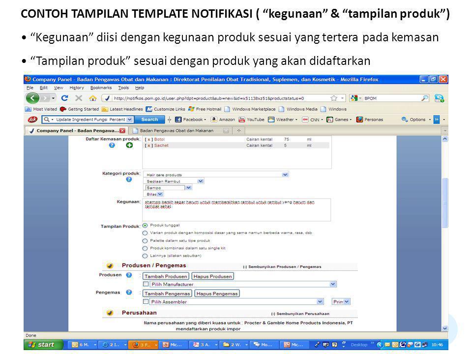 CONTOH TAMPILAN TEMPLATE NOTIFIKASI ( kegunaan & tampilan produk )