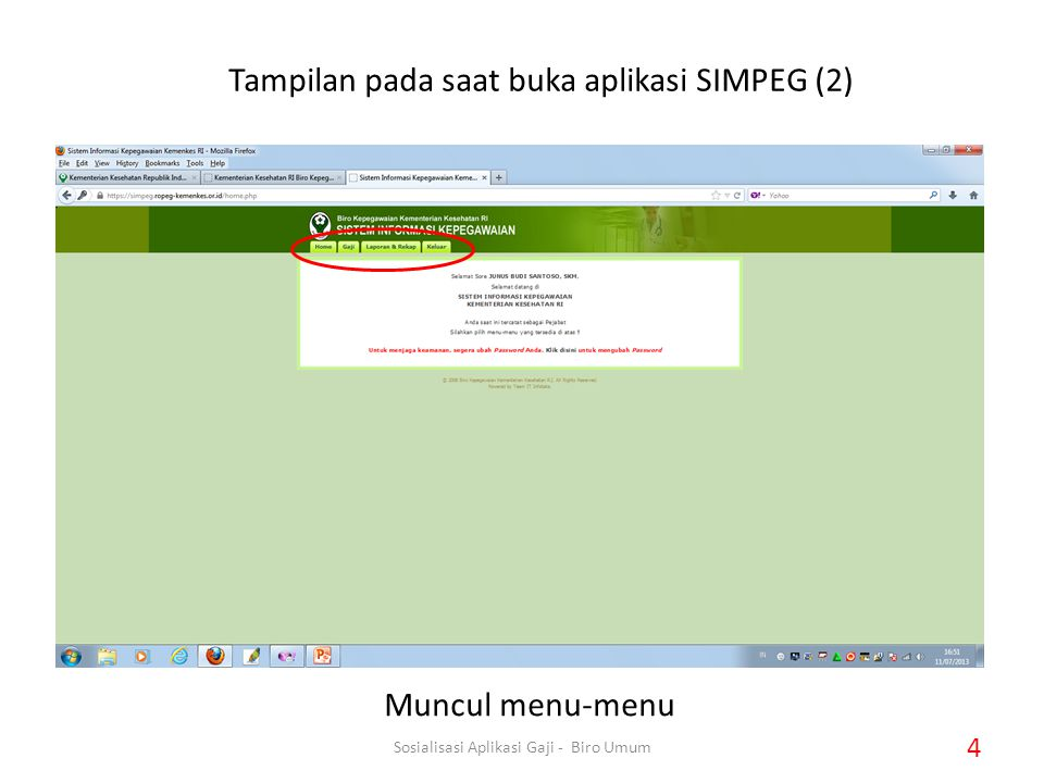 Tampilan pada saat buka aplikasi SIMPEG (2)