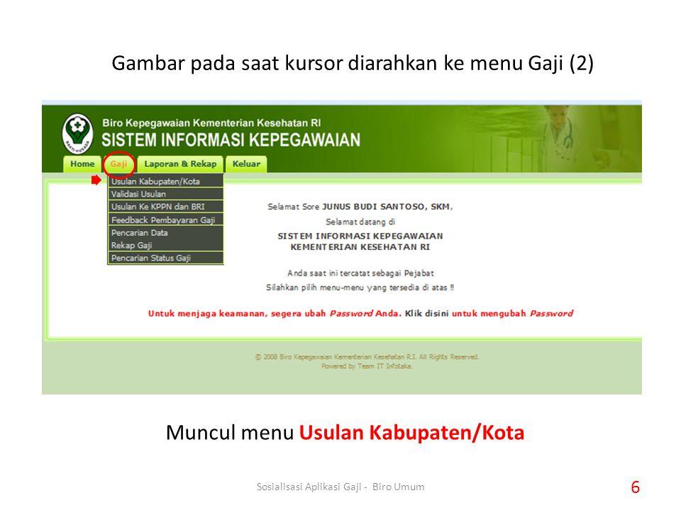 Muncul menu Usulan Kabupaten/Kota